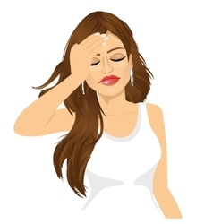 brunette woman suffering a painful headache vector image