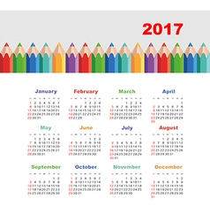 Calendar 2017 with a pencil Week Starts Sunday vector