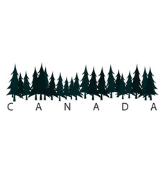 canada text or labels with silhouette of forest vector image