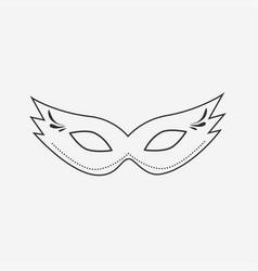 carnival mask flat black outline design icon vector image