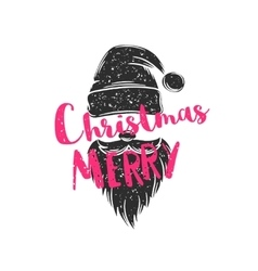 Christmas poster with hat and beard of Santa Claus vector