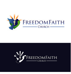 Church faith with flying freedom pigeon logo vector
