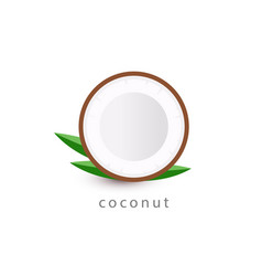 coconut simple icon vegan logo template vector image