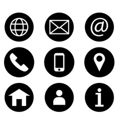 contact icon set connection business card icon vector image
