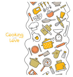 cooking flat vertical seamless pattern with vector image
