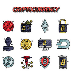 cryptocurrency flat icons set vector image