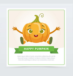 Cute humanized gourd vegetable character happy vector