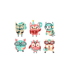 cute pink and blue owls with accessories vector image