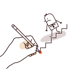 Drawing big hand - cartoon businessman going down vector