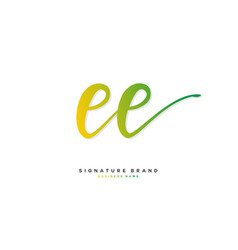 E ee initial letter handwriting and signature vector