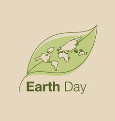 earth day line art style logo icon vector image