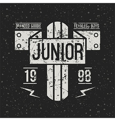 Emblem racing junior in retro style vector