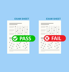 exam test pass or fail school and education test vector image