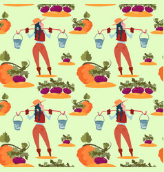 farmers fresh vegetables harvest farming seamless vector image