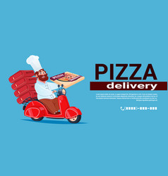 Fast pizza delivery concept chef cook riding red vector