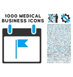 Flag Calendar Day Icon With 1000 Medical Business vector