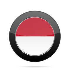 flag of indonesia shiny black round button vector image