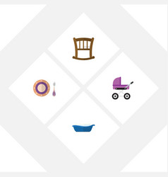 Flat infant set of baby plate bathtub infant cot vector