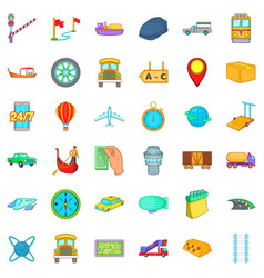 Freight delivery icons set cartoon style vector