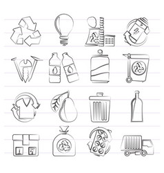 garbage and recycling icons vector image