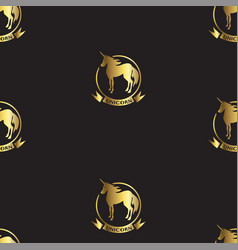 Gold unicorns on black vector