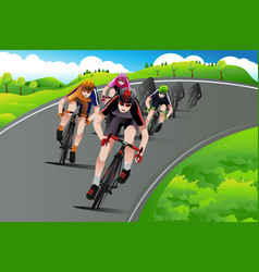 Group of cyclists racing vector