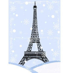 grunge eiffel tower with snow vector image