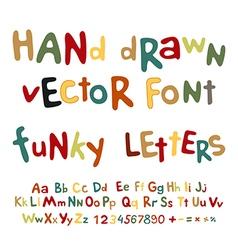 Hand-drawn alphabet funky letters font vector image