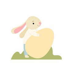 Happy cute bunny carrying big egg happy easter vector
