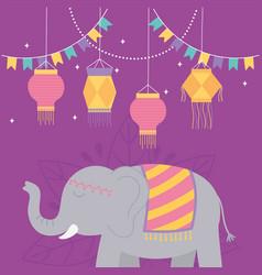 happy diwali festival hanging lanterns pennants vector image