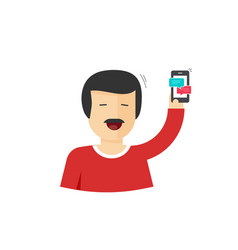 Happy man smiling with hand up holding smartphone vector