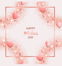 happy valentines day greeting card with pink vector image