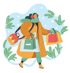 happy young woman makes shopping for the holidays vector image