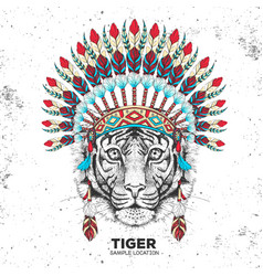 Hipster tiger with indian feather headdress vector