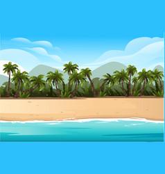 Horizontal tropical landscape coast beautiful vector
