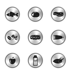 image of food icons in the form of silver buttons vector image