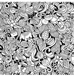 india culture hand drawn doodles seamless pattern vector image