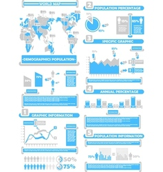 INFOGRAPHIC DEMOGRAPHICS WORLD PERCENTAGE BLUE vector image