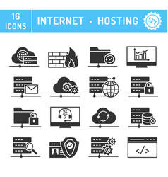 internet hosting cloud services icons set vector image