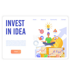 Invest in idea landing page template vector