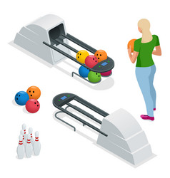 isometric bowling pins at bowling machine a vector image