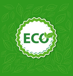 label eco in green background the sticker with vector image