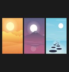 landscapes set with mountain river desert vector image