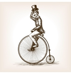 Man on retro vintage old bicycle sketch vector image