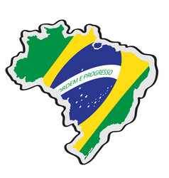 map of brazil with its flag vector image