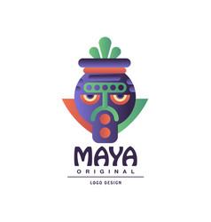 Maya original design logo sign with tribal mask vector