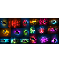mega collection of neon abstract shape backgrounds vector image