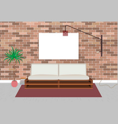 mockup living bedroom interior in hipster style vector image