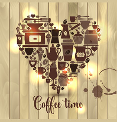 On wooden of heart with coffee vector