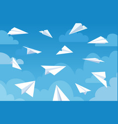 paper planes in blue sky white flying airplanes vector image